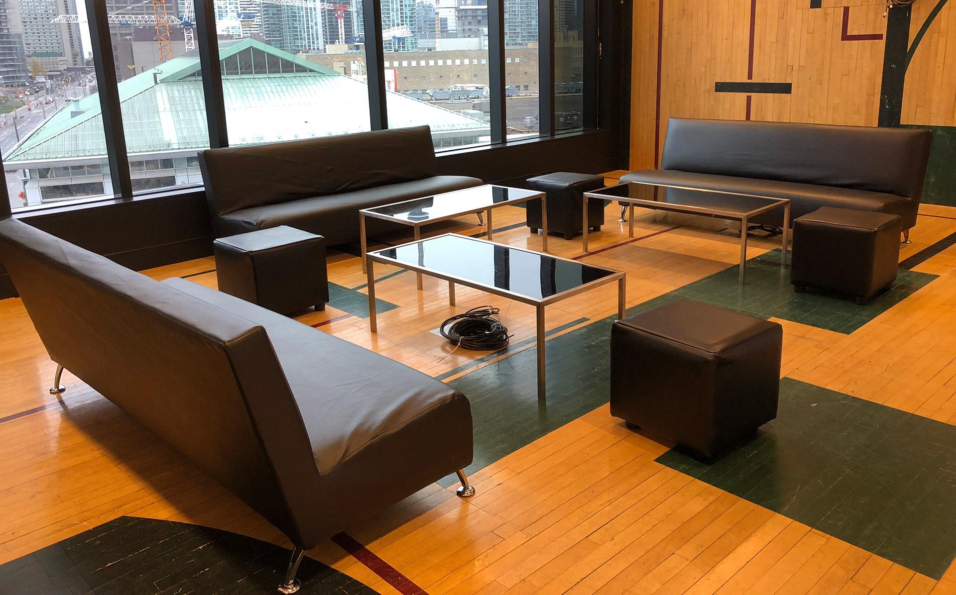 Black sofa cube ottoman