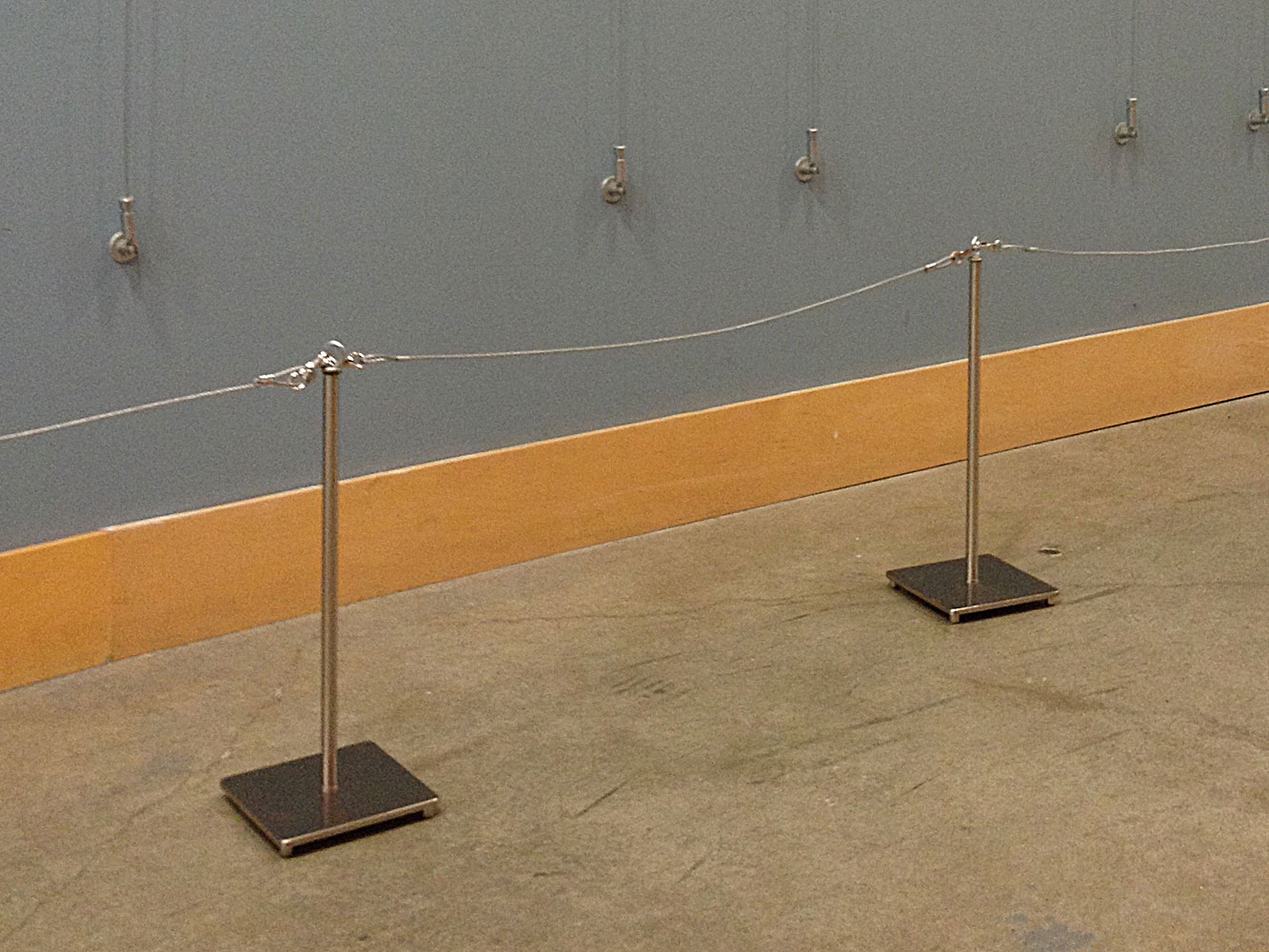 Sitra Art gallery stanchion with metal rope