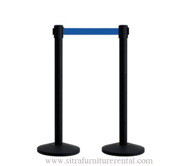 Black stanchions with blue retractable belt