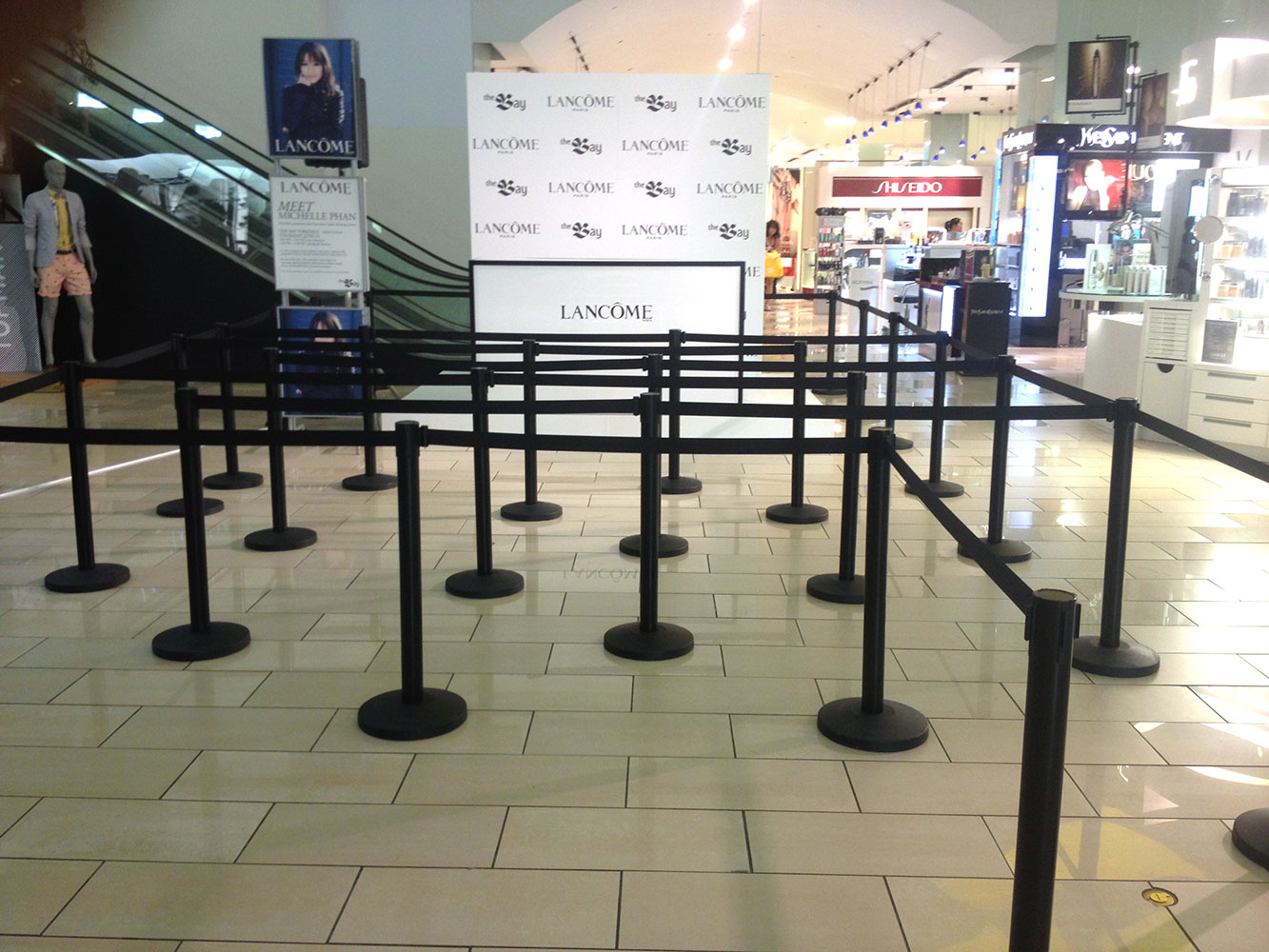 Black stanchions with black retractable belt