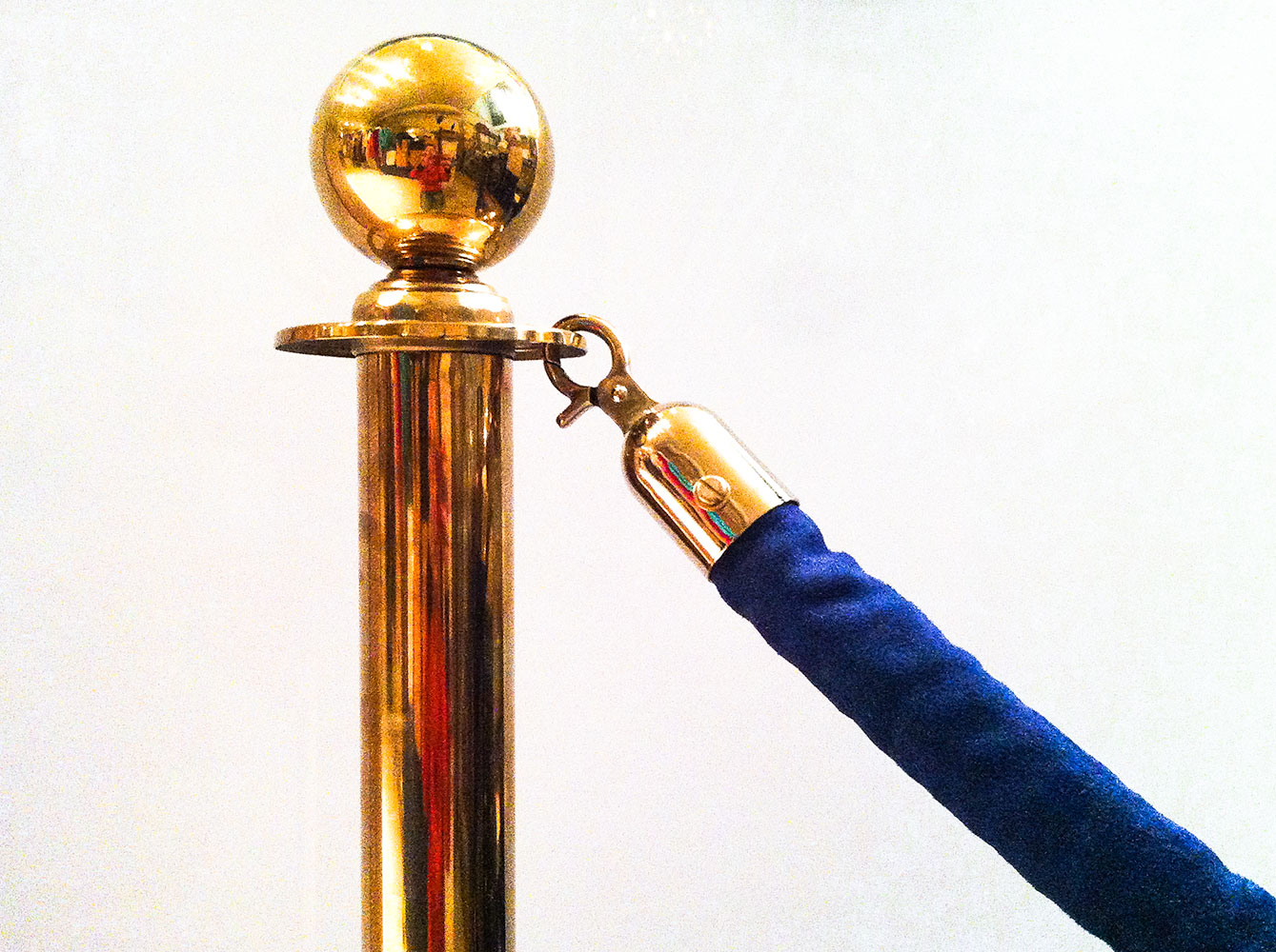 Brass Stanchions with Blue Velvet Rope
