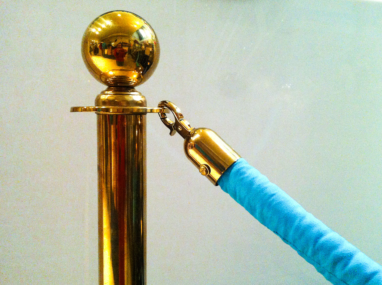 Brass Stanchions with Blue Teal Velvet Rope