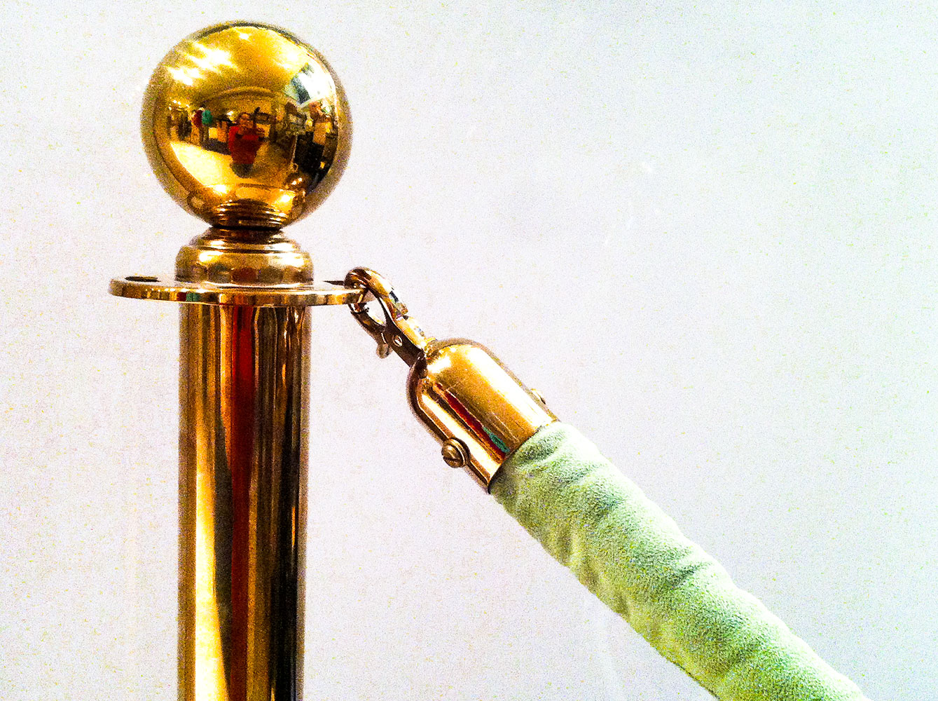 Brass Stanchions with Green Velvet Rope