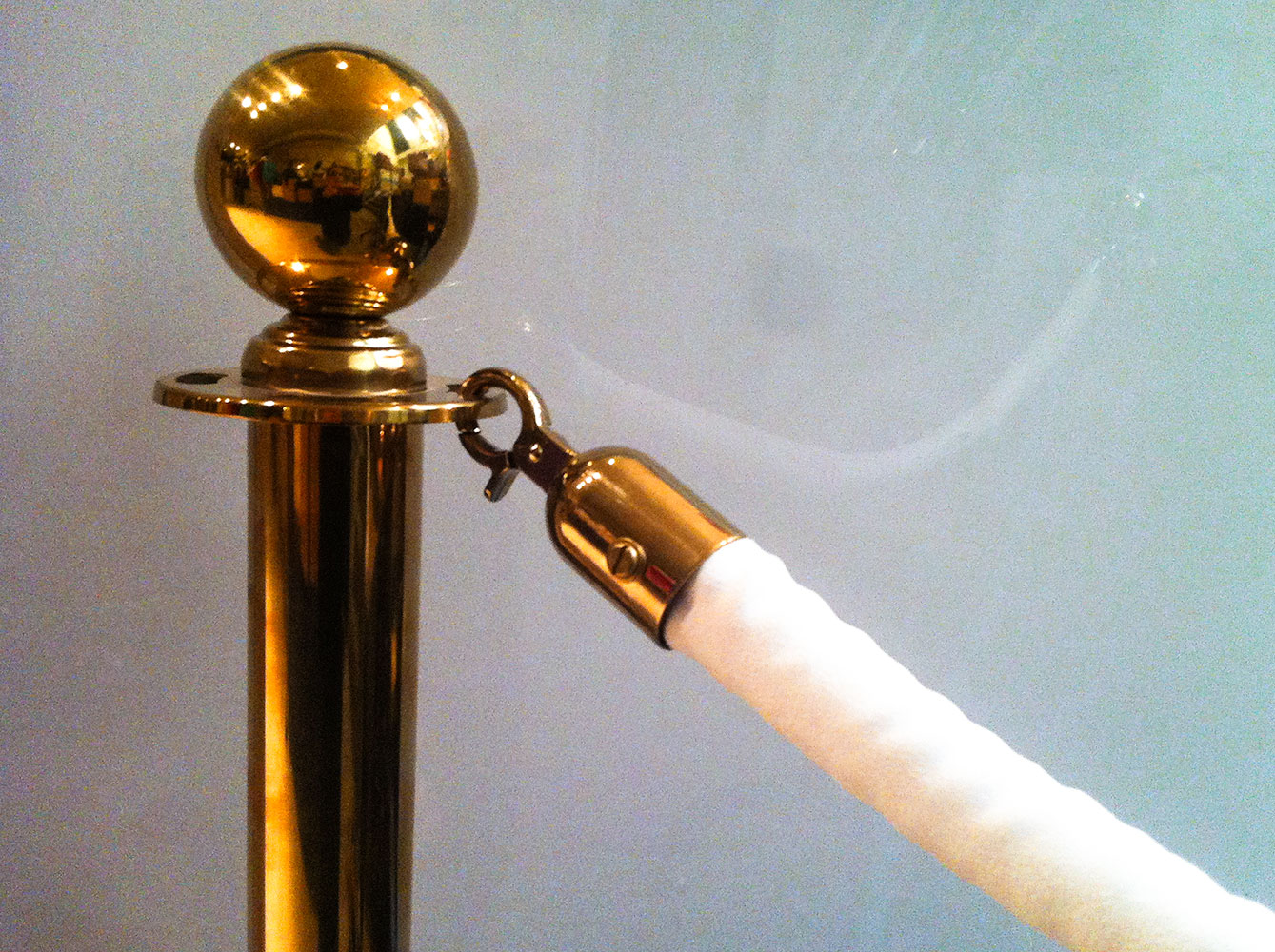 Brass Stanchions with White Velvet Rope