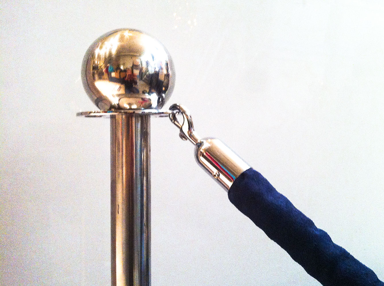 Chrome Stanchions with Blue Velvet Rope