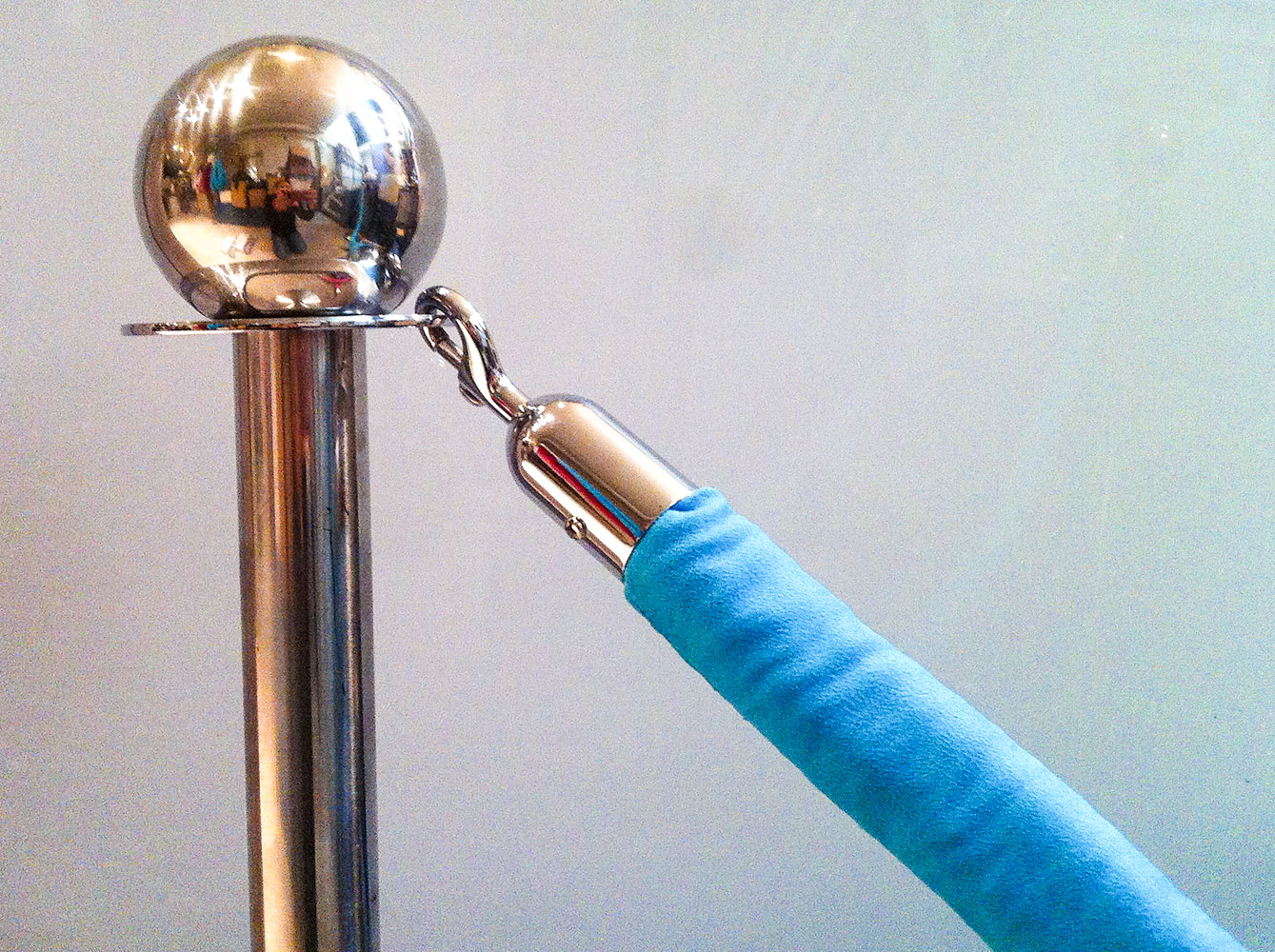 Chrome Stanchions with Blue Teal Velvet Rope