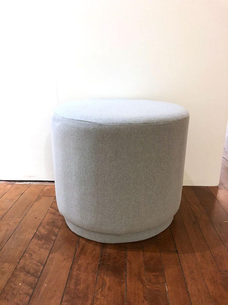 Small round gray ottoman