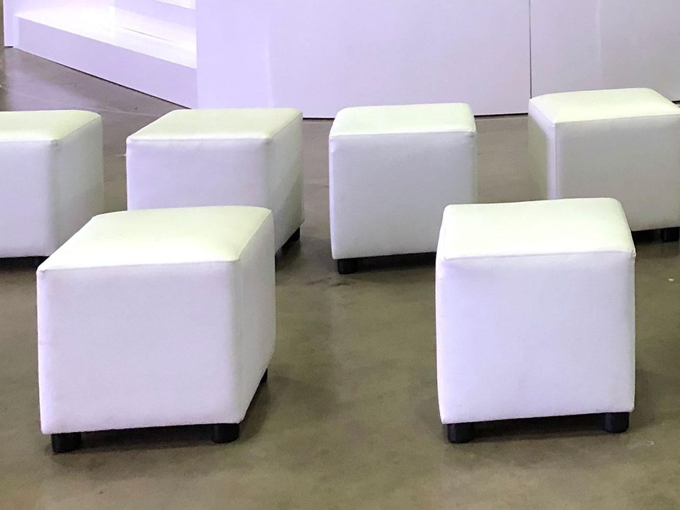 White cube ottomans