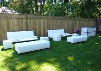White sofa cube ottoman coffee table bar