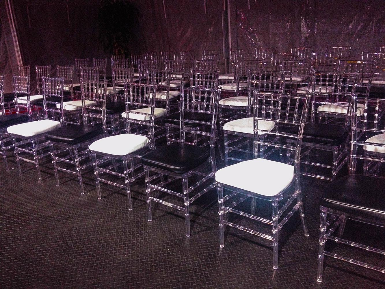 Clear Chiavari chairs with black & white cushions