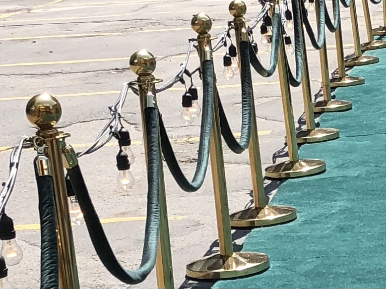 Brass Stanchions with burgandy Velvet Rope