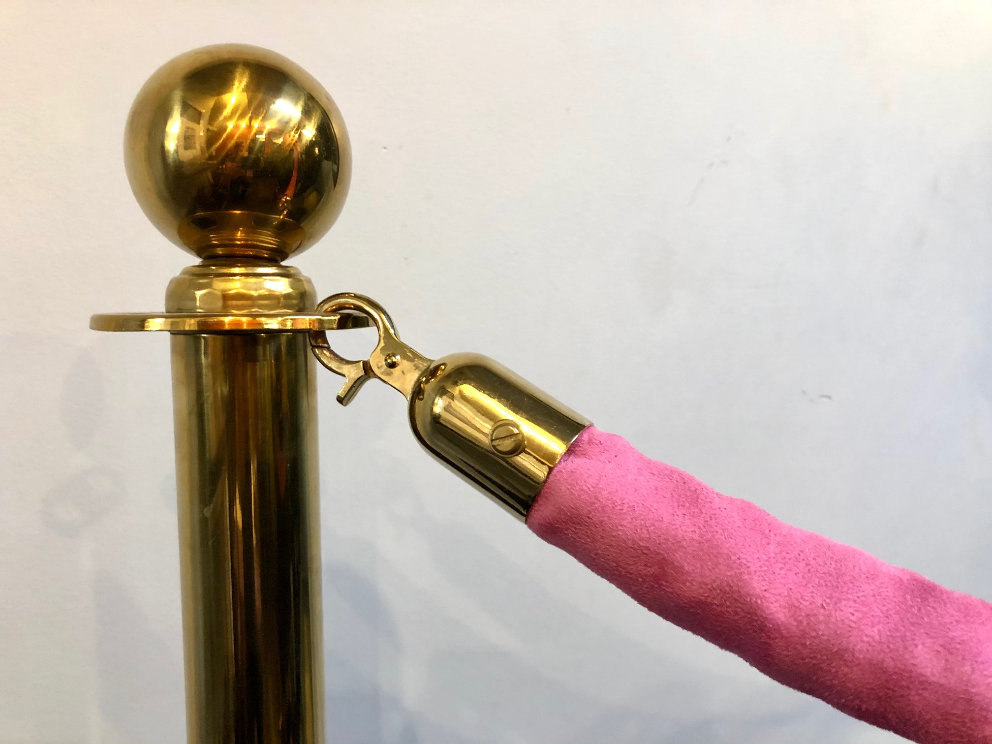 Brass Stanchions with Pink Velvet Rope