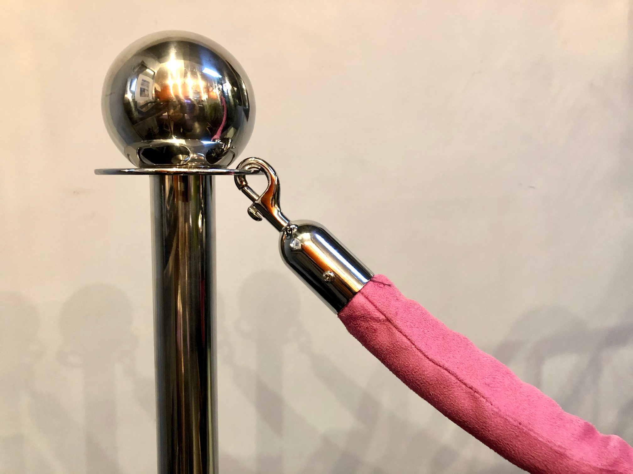 Chrome Stanchions with Pink Velvet Rope