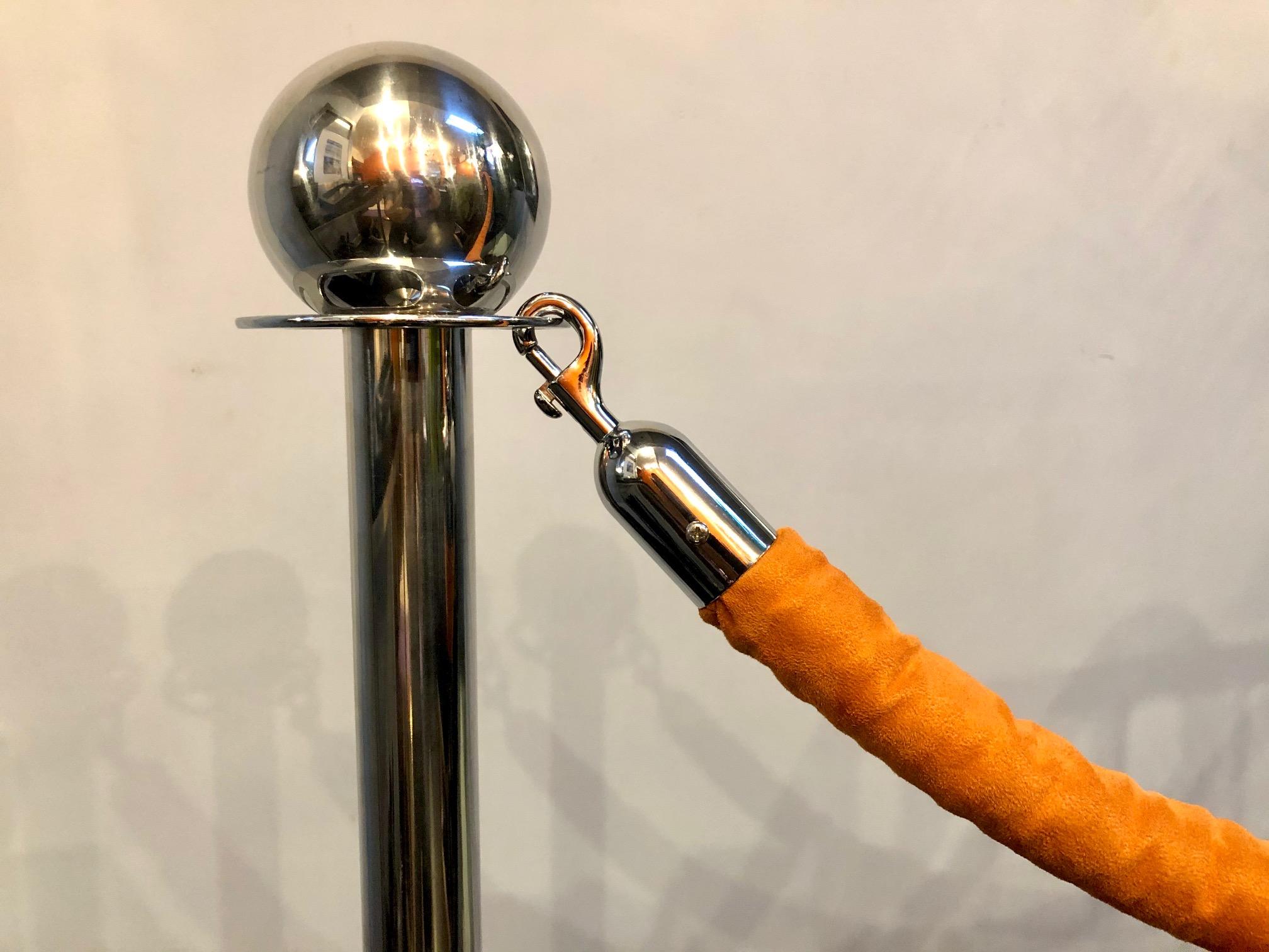 Chrome Stanchions with Orange Velvet Rope
